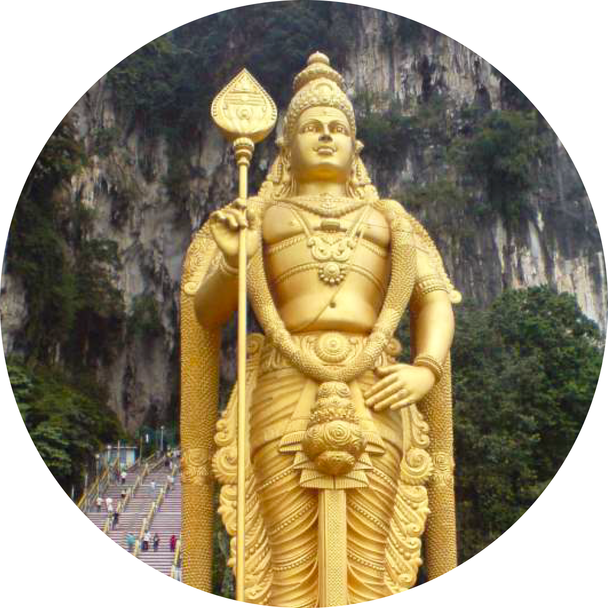 An image of the well-known Batu Caves temple from the fireflies and elephant sanctuary tour package offered by MM Adventure, conducted by our professional nature guides, representing the unique, multicultural heritage sights you can enjoy on vacation in Kuala Lumpur, Malaysia.