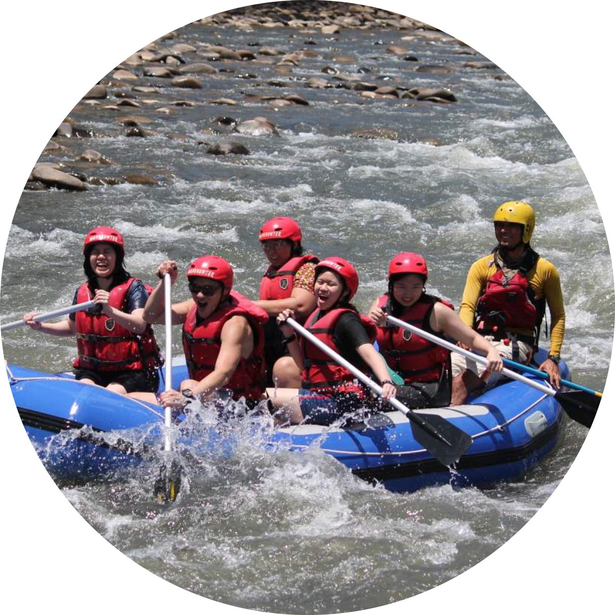 An image of white water rafting on adventure tours with MM Adventure, lead by our certified, experienced adventure guides, representing our commitment to responsible travel and sustainability, highlighting our commitment to the environment, local culture and communities and the Malaysian economy.